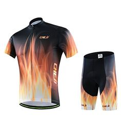 Ophelia Outdoor Mens Short Sleeve Bike Bicycle Cycling Jersey And 3D Cushion Padded Pants Tights Sportswear Suit Set L Flower * See this great product.