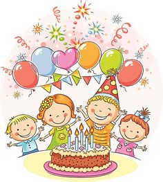Buy Happy Kids at the Birthday Party by katya_dav on GraphicRiver. Kids birthday party with a big cake and colorful balloons, no gradients Birthday Party Clipart, Happy Birthday Parties, Birthday Cards, Birthday Balloons, Art Drawings For Kids, Drawing For Kids, Art For Kids, Happy Kids, Happy Mothers Day