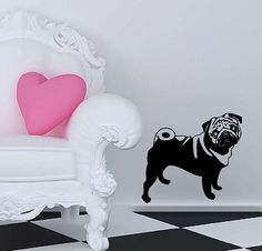 Pug Dog Vinyl Wall Decal by Vinyltastic on Etsy, $19.00