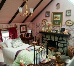 Cozy Miniature Attic bedroom; 1/12 scale