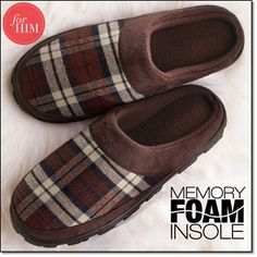 Perfectly Plaid for Him Memory Foam Slipper~ He'll go mad for this plaid slipper. Polar-fleece lining and footbed. http://jgoertzen.avonrepresentative.com/