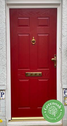 Red Solidor Composite Door. Leigh-on-Sea Essex Upvc Windows, Sash Windows, Windows And Doors, External Cladding, Leigh On Sea, Window Glazing, Window Replacement, Composite Door, Exterior Trim