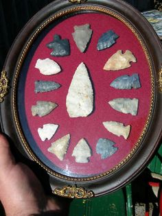 Ohio+arrowheads   Ohio Arrowhead Collection Indian knife Antique Frame NR Completed