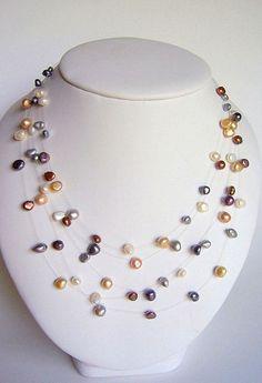Collar ilusión perla multicolor flotante 5 collar por starrydreams