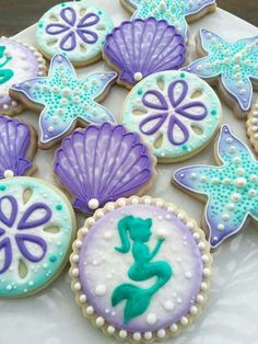Mermaid Themed Birthday Party/Baby Shower: Mermaid Decorated Purple and Aqua Sugar Cookies Iced Cookies, Cute Cookies, Royal Icing Cookies, Cupcake Cookies, Cookie Favors, Mermaid Cookies, Seashell Cookies, Sand Dollar Cookies, Mermaid Cupcakes