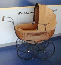 This is adorable. WICKER WOOD MADE IN GERMANY VINTAGE STYLE BABY BUGGY CARRIAGE STROLLER