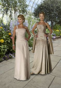 Column long taffeta one-shoulder  Mother of The Bride Dress (or bridesmaid). I like the color on the left.