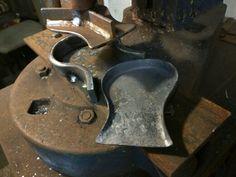 Custom flypress tooling for forging shovel head, handmade ironwork by Tom Fell - Blacksmith