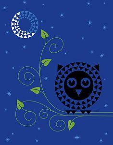 Geometric Digital Art - Night Owl by Ron Magnes