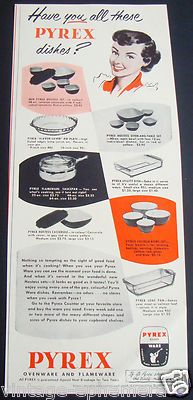 1951 Pyrex Ovenware Flameware Dishes Corning Glass Color Canada Ad