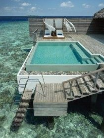 Private outdoor swimming pool on your balcony in the Maldives. Hmmm, sea or pool? Amazing Swimming Pools, Cool Pools, Awesome Pools, Maldives Resort, Maldives Hotels, Maldives Travel, Maldives Honeymoon, Maldives Beach, Maldives Water Villa