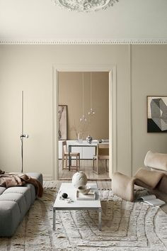 Create a dreamy home in the 2020 new neutral paint colours from Jotun Lady. Scandinavian interior design with neutral aesthetics. Beige tones in a Nordic home. #scandinavinliving #neutralcolours See more on Hege in France - Scandinavian Interiors Blog.