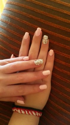 My nails :-) Baby pink with Swarovski  #Akrivi