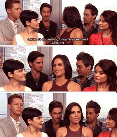 MRJ and Colin give each other a look in the second panel. They were planning it... Lol haha I love this cast!
