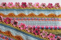 дизайн одеяла от Jane Crowfoot Crochet Blanket Border, Crochet Quilt, Crochet Borders, Crochet Home, Crochet Blanket Patterns, Crochet Stitches, Crochet Baby, Knit Crochet, Ravelry Crochet