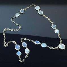 Antique Art Nouveau 1900's 30ct t.w. Moonstone Necklace Sterling Silver | Antique & Estate Jewelry | Jewelry Finds