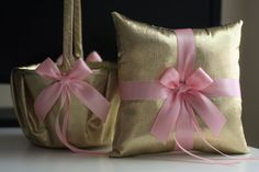 Gold Pink Wedding Ring Pillow & Flower Girl Basket by AlexEmotions