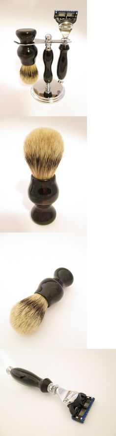 Shaving Brushes and Mugs: Macassar Ebony Shaving Set: Fusion Razor, 24Mm Super Silvertip Badger Made In Us -> BUY IT NOW ONLY: $210 on eBay!