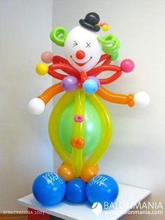 Birthday Ideas - Balloon sculpture See more balloons idea o Clown Party, Balloon Crafts, Balloon Gift, Clown Balloons, Birthday Balloons, Balloon Columns, Balloon Arch, Ballon Arrangement, Baby Ballon