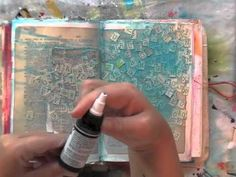 inspiration wednesday 9.25.13 - YouTube. Love how she used the book pages on this art journal spread.
