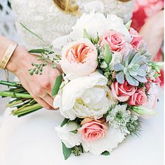Fresh Bridal Bouquets | Floral and Succulent Bouquet | SouthernLiving.com - white peonies, peach garden roses, succulents, white lisianthus, and seeded eucalyptus