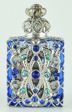 Vintage Vanity Aqua Blue Perfume Bottle Silver Tone Filigree Dazzling Crystal