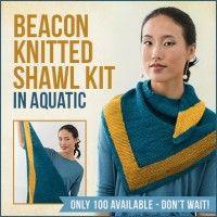 Beacon Knitted Shawl Kit in Aquatic   InterweaveStore.com