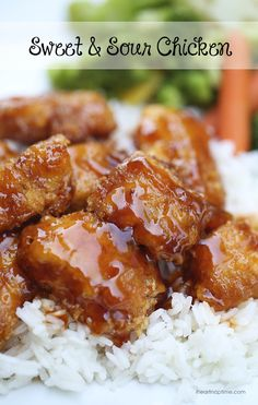 "Sweet and sour chicken recipe -  I am excited to share this sweet and sour chicken recipe that I made over the weekend. It was SO good! My whole family loved it. This recipe is definitely going in my ""favorites file."""