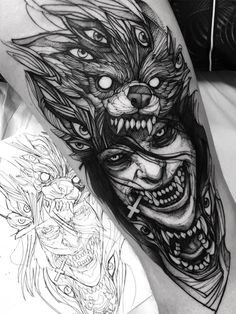 Tattoo models and designs artist IG: . by - artist - Tattoo models and designs artist IG: Fredão Oliveira - Scary Tattoos, Wolf Tattoos, Forearm Tattoos, Black Tattoos, Body Art Tattoos, Hand Tattoos, Sleeve Tattoos, Tattoos For Guys, Tattoos Masculinas