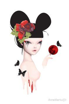 'blood moon' Canvas Print by AnneMartwijit Blood Moon, Pop Surrealism, Surreal Art, Canvas Prints, Tattoo, Shirt, Surreal Artwork, Dress Shirt, Tattoos