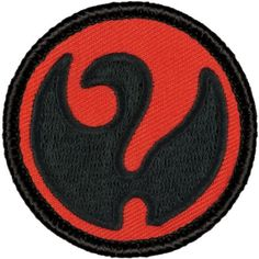 "Retro Red and Black ""Unknown Swan"" Patrol Patch - 2"" Diameter Round Embroidered Patch"