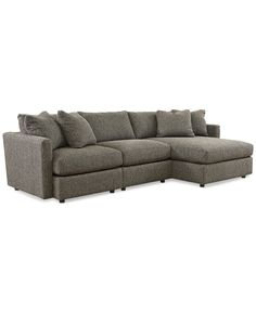 Clinton Fabric 3-Piece Chaise Sectional - Couches & Sofas - Furniture - Macy's Large Sectional Sofa, Fabric Sectional, Sectional Furniture, Modern Sectional, Sofa Set, Casual Family Rooms, Small Couch, Living Room Modern, Living Rooms
