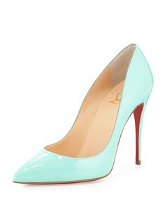 X2J5C Christian Louboutin Pigalle Follies Patent Point-Toe Red Sole Pump, Opaline Turquoise