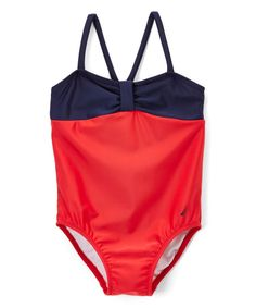 Red & Navy Color Block One-Piece - Infant, Toddler & Girls