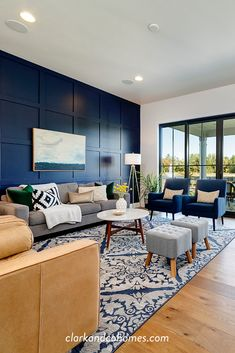 Mace River Custom Home Navy Blue And Grey Living Room, Blue Living Room Decor, Navy Blue Living Room, Accent Walls In Living Room, Living Room Color Schemes, Navy Blue Rooms, Navy Blue Sofa, Navy Blue Walls, Colour Schemes