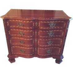 Vintage #25300 John Widdicomb Inlaid Serpentine Front Colonial Chest  from timelesstokensde on Ruby Lane