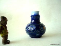 Vintage Strehla vase in cobalt blue with pumice decor, Mid Century Modern East Germany 1960's by Cherryforest on Etsy