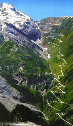 Stelvio Pass Road - in the Italian Alps, close to Swiss border    Height - 2757 meters    Location - in the Italian Alps, near Bormio and Sulden, 75 km from Bolzano, close to Swiss border