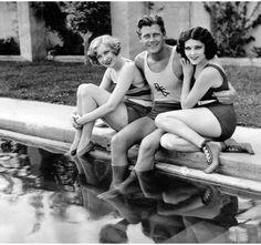 Gwen Lee, Joel McCrea and Raquel Torres, 1931 - look at those sweet little socks! Vintage Hollywood, Classic Hollywood, Beverly Hills, Clint Walker, Hooray For Hollywood, Vintage Swimsuits, Glamour Shots, Hollywood Actor, Hollywood Couples