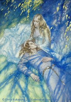 Return by EKukanova.deviantart.com on @DeviantArt. Finrod and Amarie Illustration for fan-novell by Eilian, story of Finrod after his return from Mandos. watercolor on paper,  53x38cm