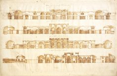 Sketches of the Baths of Diocletian by Andrea Palladio, Morgan Library