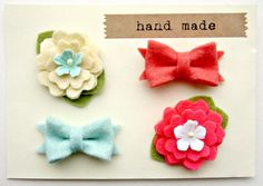for little abby & andrea Felt Flower - Summer Bows in Coral and Mint, Tiny Hair Clips. $18.00, via Etsy.