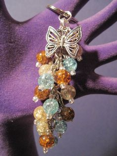 Brown Blue and Champagne Crackle Glass Purse Charm / Key Chain by FoxyFundanglesByCori, $10.00