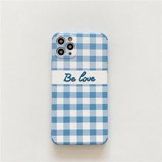Blue Plaid - Be Love Embroidered iPhone Case - Apple 12 Pro
