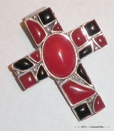 Sterling Silver Black Onyx and Red Coral Cross by curioustrifles, $75.00