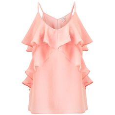 Miss Selfridge Coral Ruffle Front Camisole Top (890 MXN) ❤ liked on Polyvore featuring tops, dresses, shirts, coral, flounce tops, pink ruffle shirt, coral top, shirt top and ruffle top
