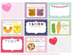 The Polka Dot Posie: Printable Valentine's Day Lunch Box Notes