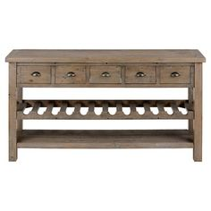 Slater Mill Wine Rack and Server with Drawers and Shelf Wood/Reclaimed Pine - Jofran Inc.