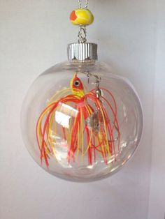 Personalized Christmas 2014 Ornament with real Fishing Lure and two personalized charms for name or short message and 2014. by FishWithHope on Etsy https://www.etsy.com/listing/166092210/personalized-christmas-2014-ornament