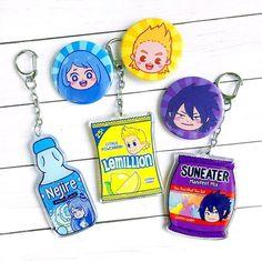 My Hero Academia Snack Acrylic Keychains Big 3 // IAmLunaSol My Hero Academia Merchandise, My Hero Academia Memes, Hero Academia Characters, Buko No Hero Academia, Anime Merchandise, Acrylic Keychains, Acrylic Charms, Otaku, Boko No